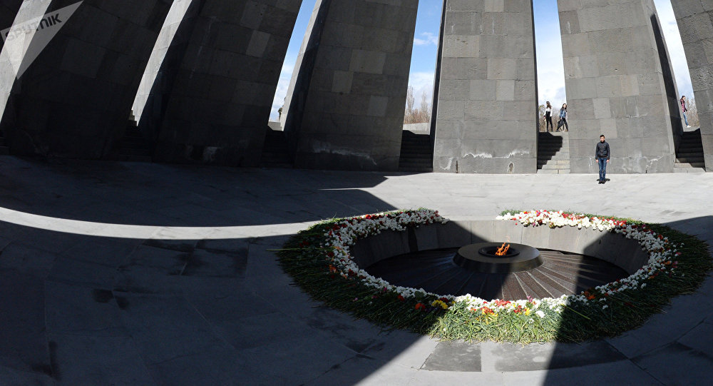 The eternal flame at the Tsitsernakaberd Armenian genocide memorial complex