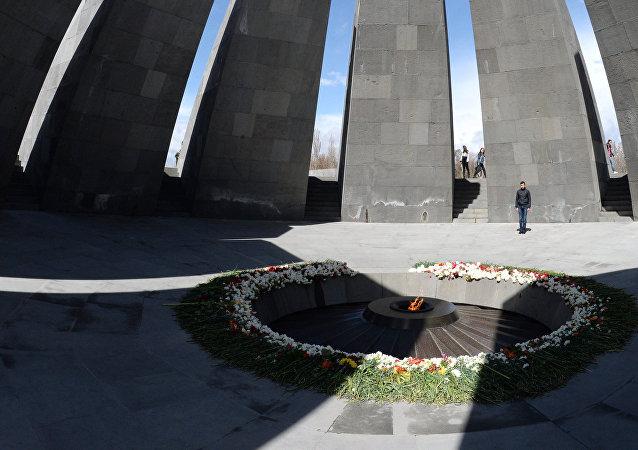 The eternal flame at the Tsitsernakaberd Armenian genocide memorial complex
