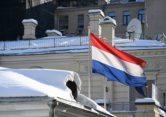 National flag of the Netherlands on the Dutch Embassy in Moscow