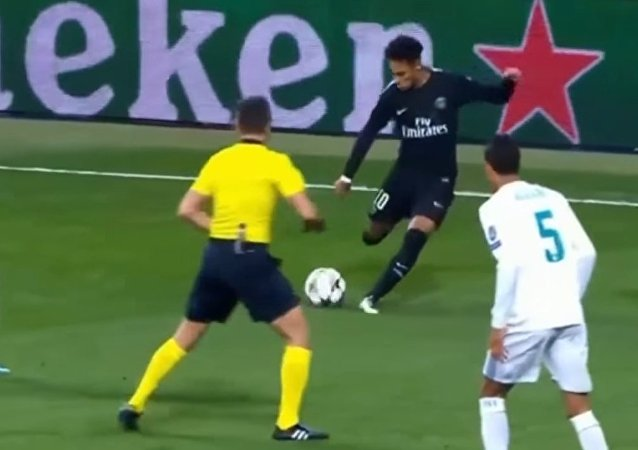 Neymar Hits Ball To Referee