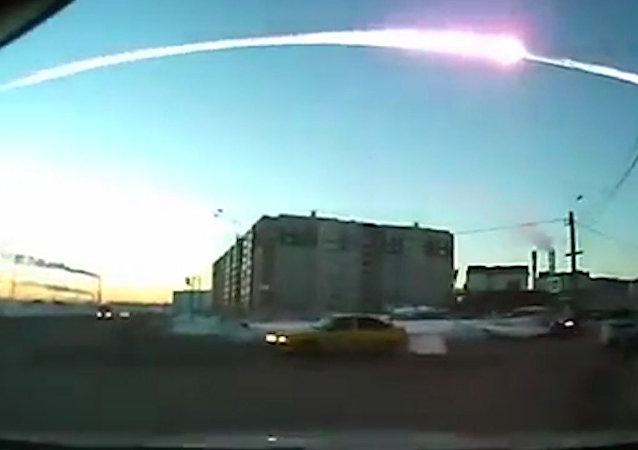 The trace of a flying object in the sky over Chelyabinsk (still from a dashboard camera). (File)