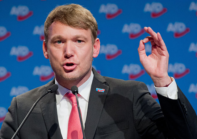 Member of the leadership of the Alternative for Germany (AfD) far-right party Andre Poggenburg speaks during the congress of the party on December 2, 2017 in Hanover, northern Germany
