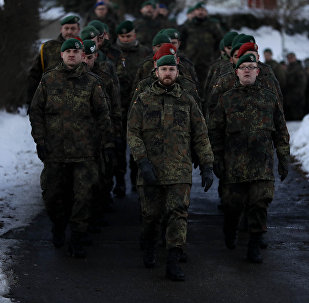 German Bundeswehr soldiers of the 122th Infantry Battalion take part in a farewell ceremony in Oberviechtach, Germany, Thursday, Jan. 19, 2017