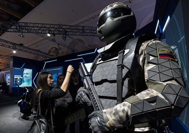 Visitors touring Russia Focused on the Future exhibition, held at Manezh Central Exhibition Hall in Moscow