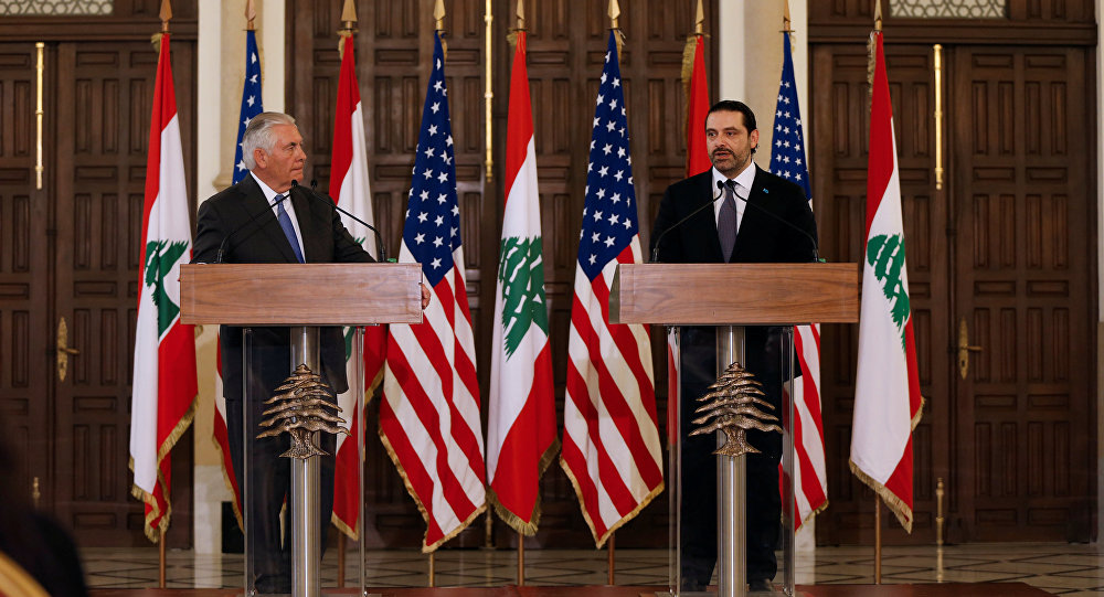 Lebanon's Prime Minister Saad al-Hariri talks during a joint news conference with U.S. Secretary of State Rex Tillerson at the governmental palace in Beirut, Lebanon
