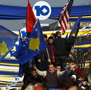 People take part in celebrations of the 10th anniversary of Kosovo's independence in Pristina, Kosovo February 17, 2018