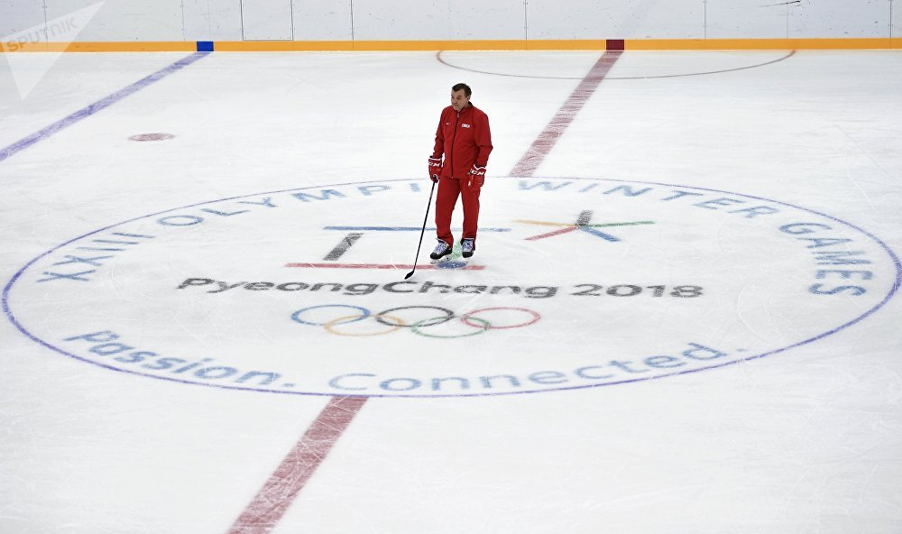 Head coach of the Russian hockey team Oleg Znarok during a training session at the 2018 Pyeongchang Winter Olympic Games