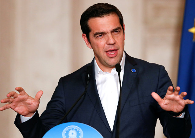 Greek Prime Minister Alexis Tsipras speaks during a southern European Union nations meeting in Rome, Italy January 10, 2018.