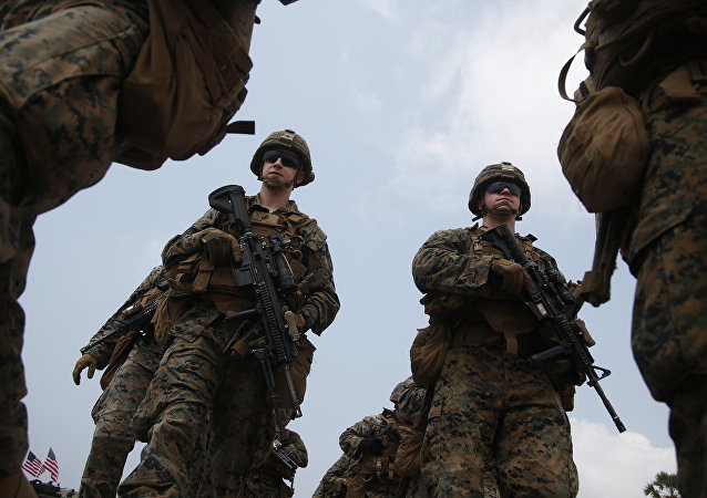 U.S. Marines join in an ongoing Cobra Gold U.S.-Thai joint military exercise on Hat Yao beach in Chonburi province, eastern Thailand, Saturday, Feb. 17, 2018.