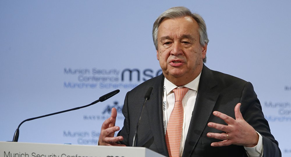 U.N. Secretary General Antonio Guterres talks at the Munich Security Conference in Munich, Germany, February 16, 2018