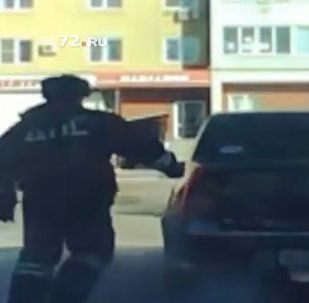 Screengrab from epic car chase in Siberia