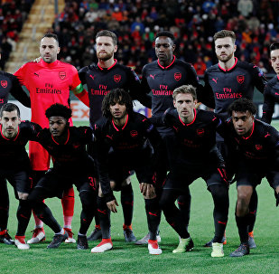 Soccer Football - Europa League Round of 32 First Leg - Ostersunds FK vs Arsenal - Jamtkraft Arena, Ostersund, Sweden - February 15, 2018 Arsenal team group