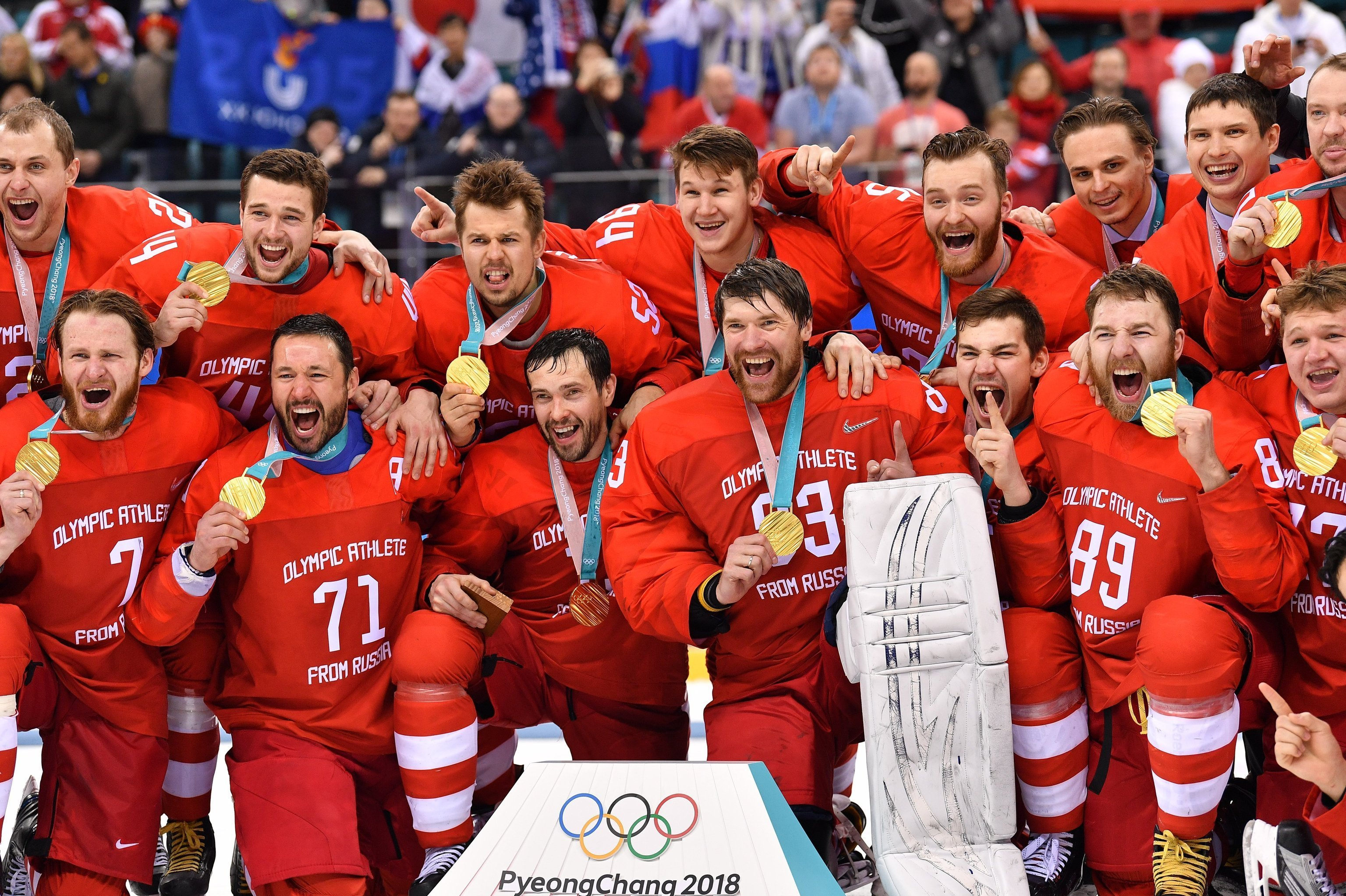 From left, front: Vladislav Gavrikov (Russia), Ivan Telegin (Russia), Ilya Kovalchuk (Russia), Pavel Datsyuk (Russia) receive gold medals at the medal ceremony of the men's ice hockey tournament at the 2018 Winter Olympics. From right: Kirill Kaprizon (Russia) and Vasily Koshechkin (Russia)