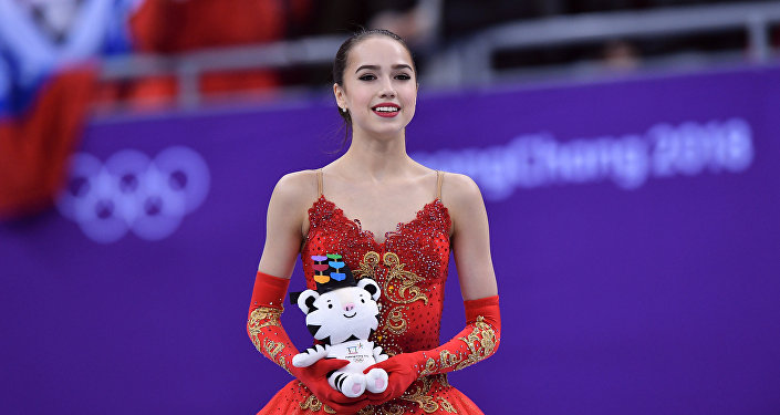 Olympic Athlete from Russia Alina Zagitova after performing her free skating program during the women's figure skating competition at the XXIII Olympic Winter Games.