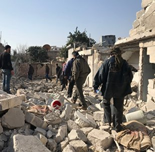 Jenderes village in Afrin Canton in the north of Syria after aircraft and artillery shelling by the Turkish Armed Forces