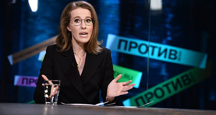 Ksenia Sobchak, a 2018 presidential hopeful, takes part in an expert discussion on media business development prospects in Russia.