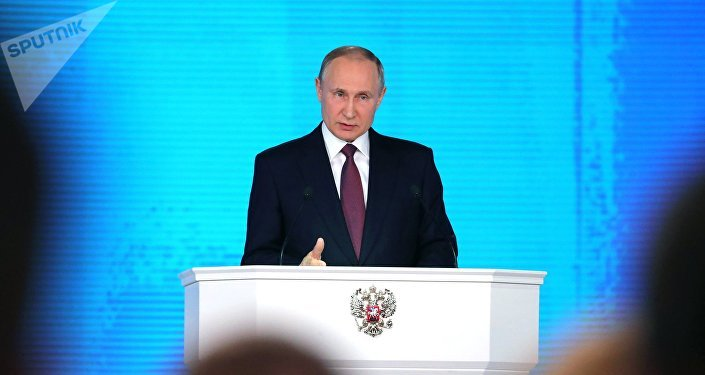 Russian President Vladimir Putin delivers his annual Presidential Address to the Federal Assembly at the Manezh Central Exhibition Hall