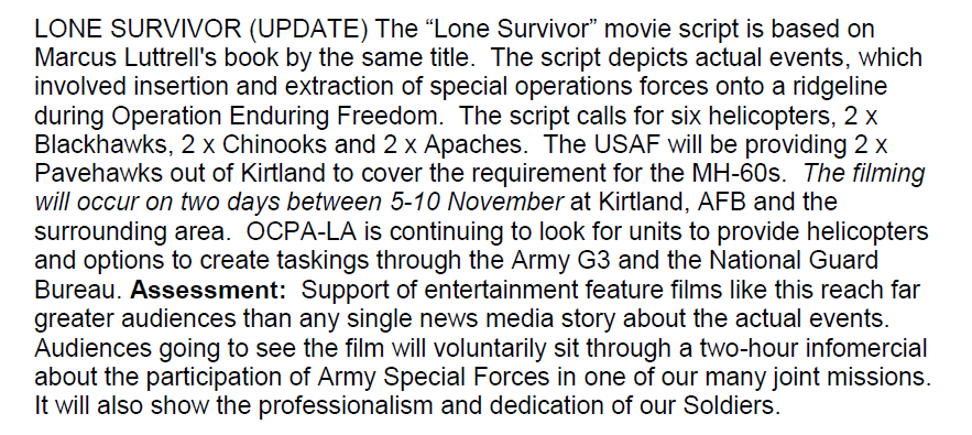 US Army Entertainment Liaison Office Describes Lone Survivor as Two Hour Infomercial