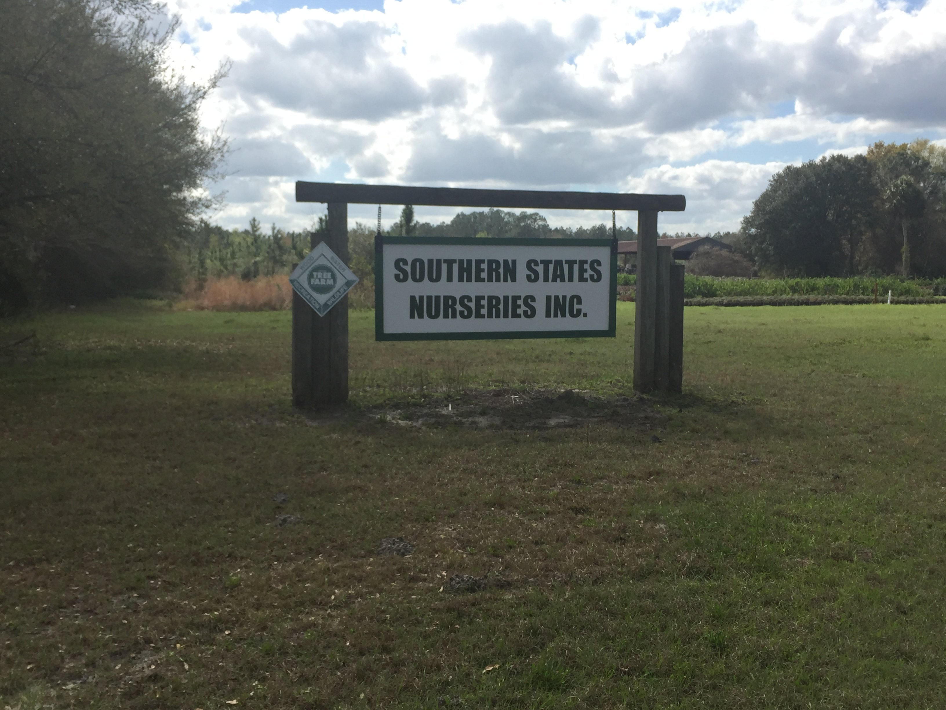 Southern States Nurseries Inc sign, the setting of the fatal shooting of Dominic Jerome Broadus II on February 3, 2018