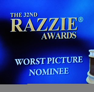 (File) The Razzie award logo is displayed on stage at the 32 annual Golden Raspberry or Razzies Awards, April 1, 2012 in Santa Monica, California