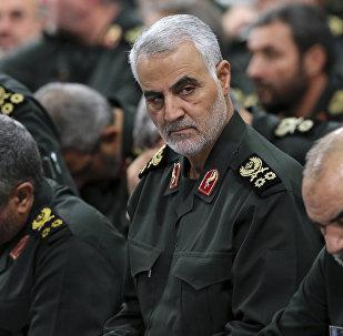 Revolutionary Guard Gen. Qassem Soleimani, center, attends a meeting with Supreme Leader Ayatollah Ali Khamenei and Revolutionary Guard commanders in Tehran, Iran, file photo.