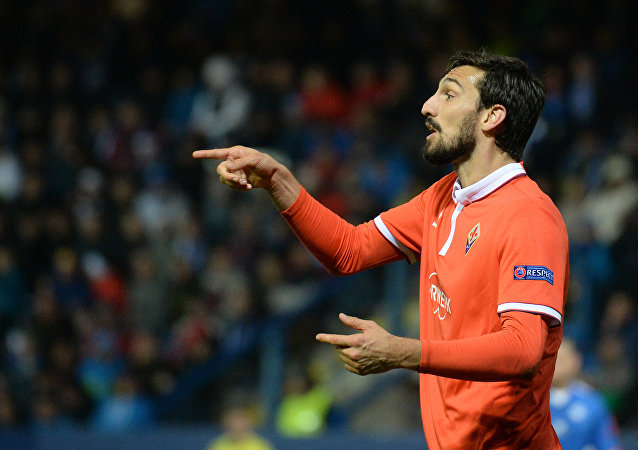 Davide Astori of ACF Fiorentina reacts during Europa League football match FC Slovan Liberec v ACF Fiorentina at U Nisy Stadium in Liberc, on October 20, 2016