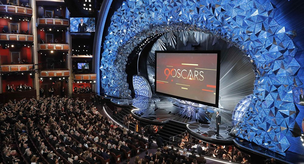90th Academy Awards - Oscars Show – Hollywood, California, U.S., 04/03/2018 – General view of the stage as host Jimmy Kimmel presides over the show
