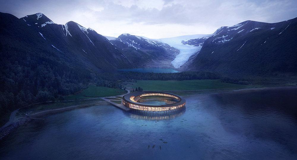 Flying saucer landing ufo shaped powerhouse 39 hotel to for Designhotel 54