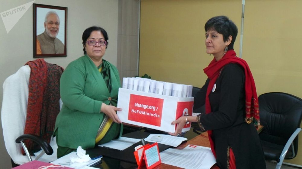 Masooma Ranalvi presenting the signatures of the No FGM in India campaign to Lalitha Kumaramangalam, Chairperson, Women Commission of India