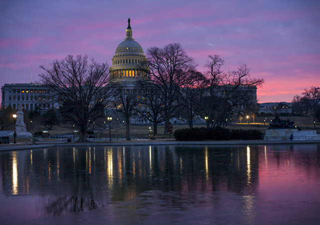 Dawn breaks over the US Capitol building in Washington DC