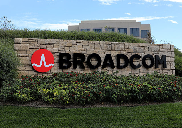A sign to the campus offices of chip maker Broadcom Ltd, who announced on Monday an unsolicited bid to buy peer Qualcomm Inc for $103 billion, is shown in Irvine, California, U.S., November 6, 2017