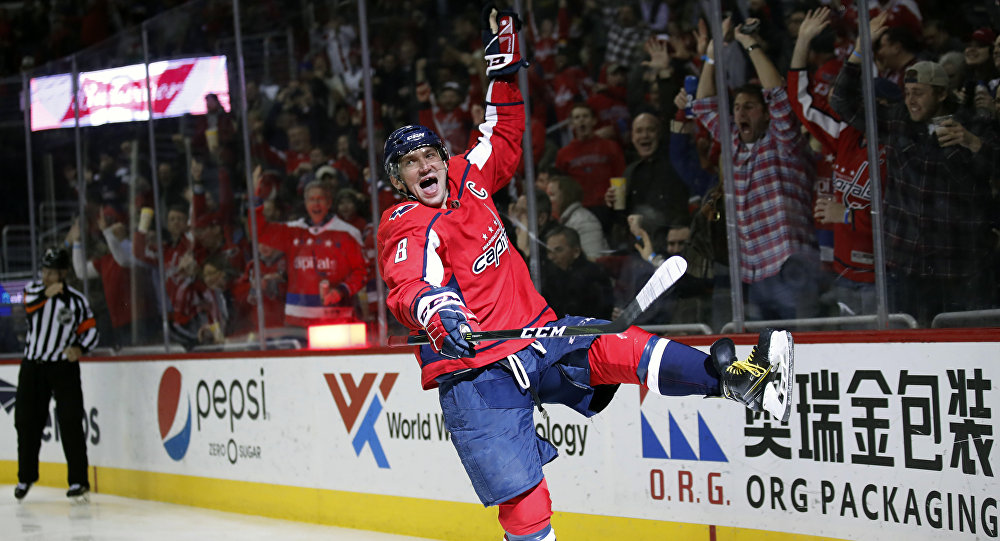 Washington Capitals left wing Alex Ovechkin celebrates his goal in the second period of an NHL hockey game against the Winnipeg Jets, Monday, March 12, 2018, in Washington