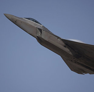 A US-built for sale F-22 Raptor performs during the Dubai Air Show, United Arab Emirates, Monday, November 13, 2017.
