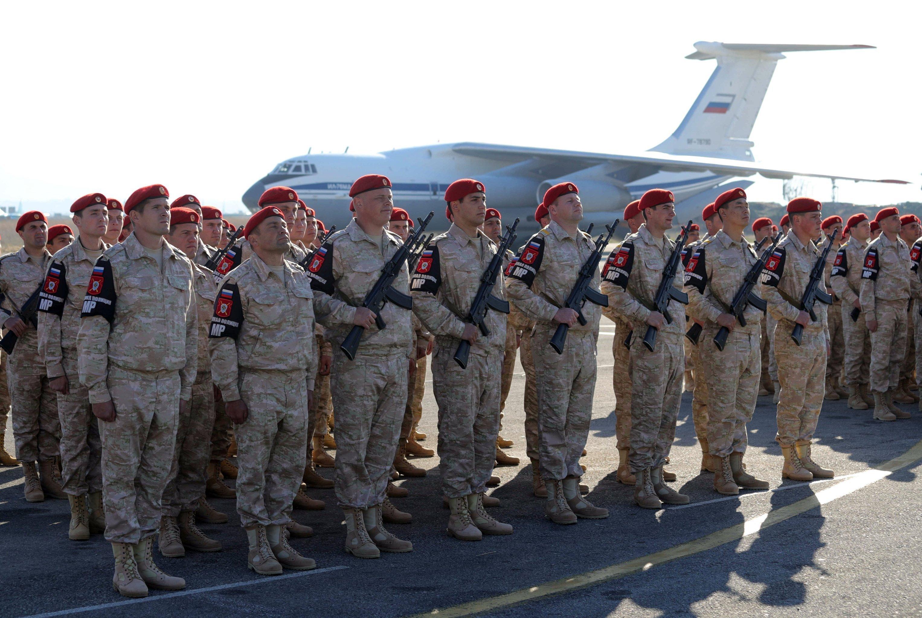 Russian army servicemen at the Khmeimim Air Base in Syria