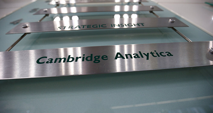 The nameplate of political consultancy, Cambridge Analytica, is seen in central London, Britain
