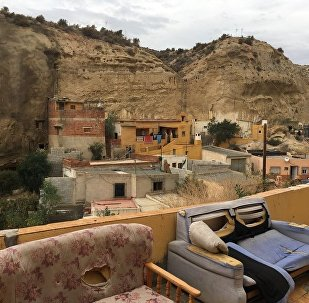 The women were forced into prostitution in cave-like homes in Spain (pictured)