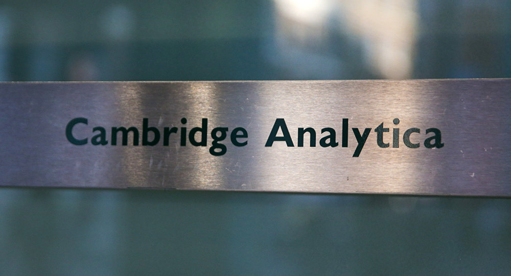 A Cambridge Analytica sign is pictured at the entrance of the building which houses the offices of Cambridge Analytica, in central London
