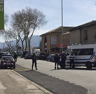 Police attend an incident in Trebes, southern France