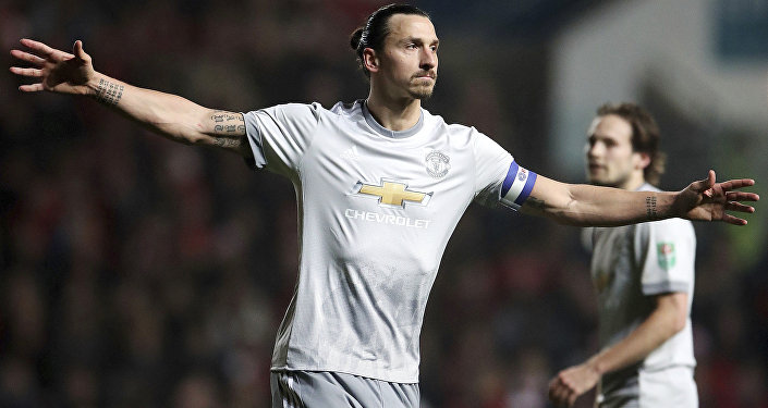 Manchester United's Zlatan Ibrahimovic celebrates scoring his side's first goal of the game during the English League Cup Quarter Final soccer match between Bristol City and Manchester United at Ashton Gate, Bristol, England. (File)