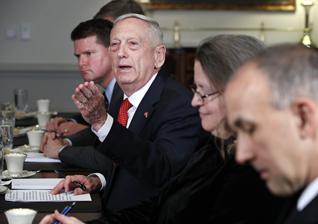 Secretary of Defense Jim Mattis answers a question from a reporter during his meeting with Indonesia's Minister of Foreign Affairs Retno Marsudi, Monday, March 26, 2018, at the Pentagon