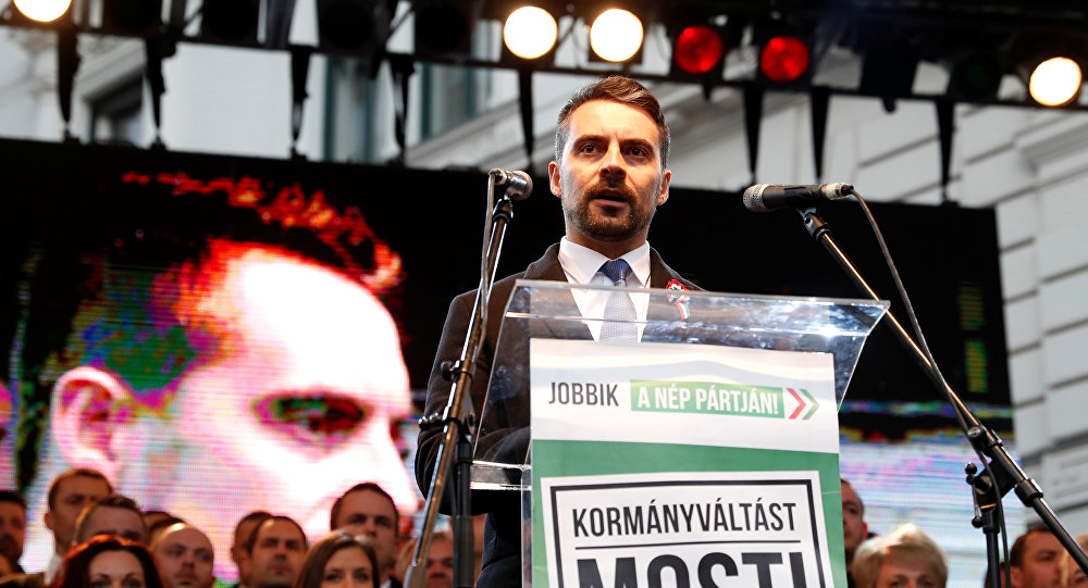 Chairman of the Hungarian right wing opposition party Jobbik Gabor Vona speaks at a rally during Hungary's National Day celebrations, which also commemorates the 1848 Hungarian Revolution against the Habsburg monarchy, in Budapest, Hungary March 15, 2018