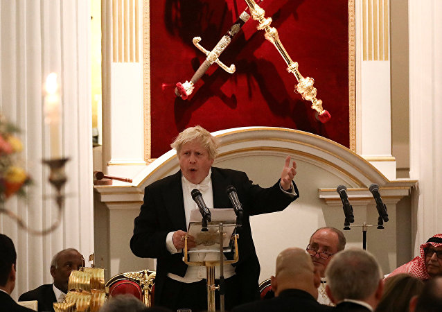 Britain's Foreign Secretary Boris Johnson speaks during a banquet with diplomats at Mansion House in London, Britain