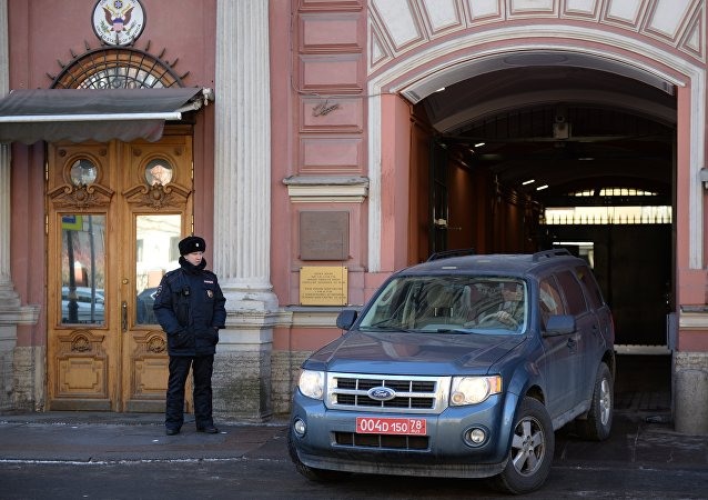 Consulate employees leave the US Consulate-General in St. Petersburg