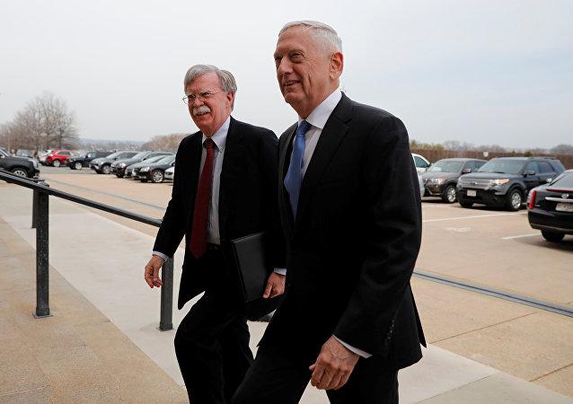 Secretary of Defense James Mattis greets Ambassador John Bolton, President Donald Trump's nominee to be National Security Advisor, as he arrives at the Pentagon in Washington, U.S., March 29, 2018.