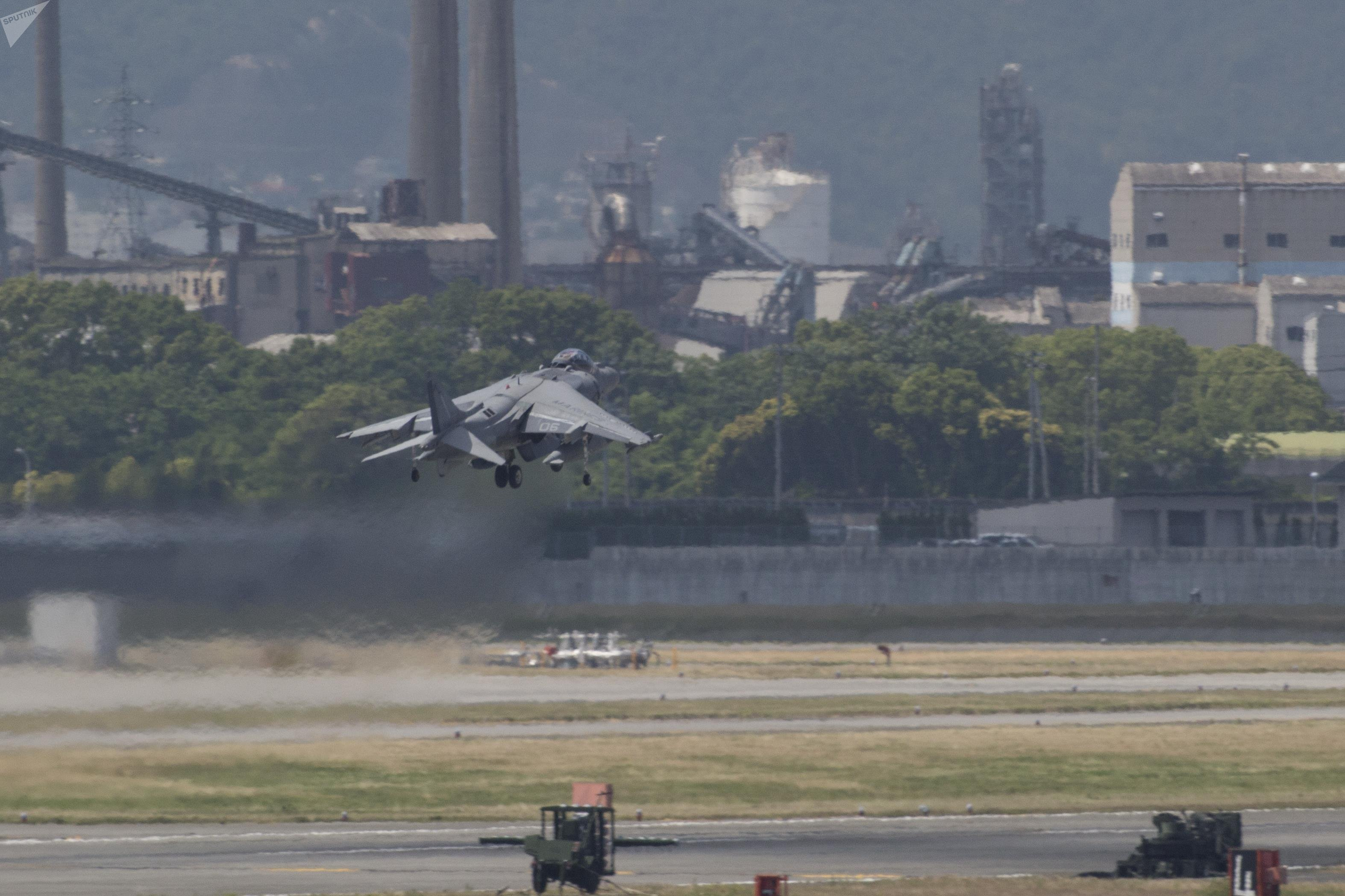 An AV-8B Harrier with Marine Attack Squadron (VMA) 311 departs from Marine Corps Air Station Iwakuni, Japan, June 2, 2017.