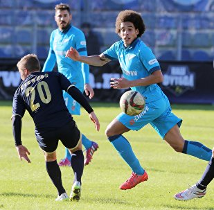 (File) Torpedo's Vadim Steklov, Zenit's Axel Witsel, and Torpedo's Dalibor Stevanovic during the Russian Football Premier League's Round 19 match between Torpedo Moscow and Zenit St. Petersburg
