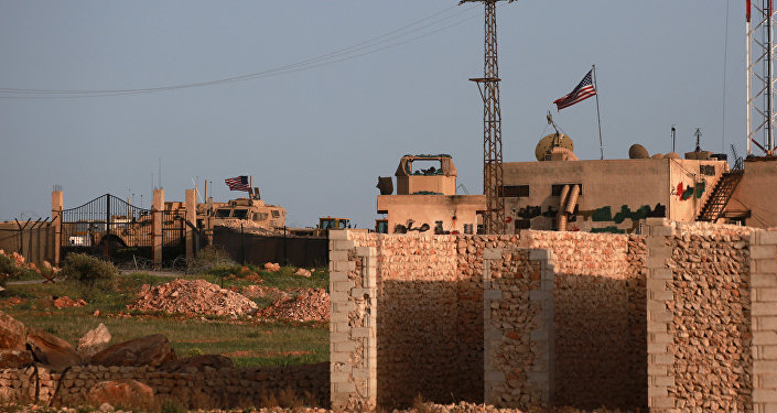 A picture taken on April 2, 2018 shows a general view of a US military base in the al-Asaliyah village, between the Syrian city of Aleppo and the northern town of Manbij