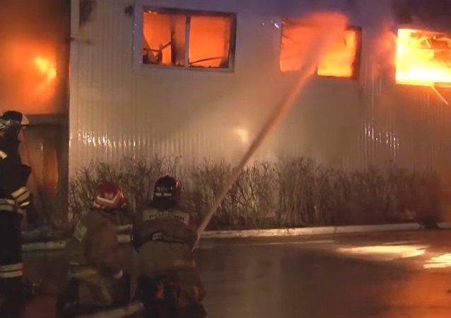 Russia: Immense Inferno Rages in Tyumen Toy Store