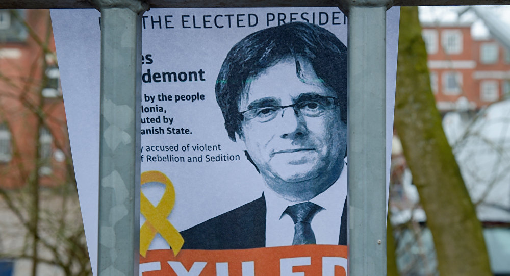 Portrait of former Catalan leader Carles Puigdemont attached to the fence of the prison (Justizvollzugsanstalt, JVA) of Neumuenster, northern Germany, where Puigdemont ,former Catalan regional president, is detained