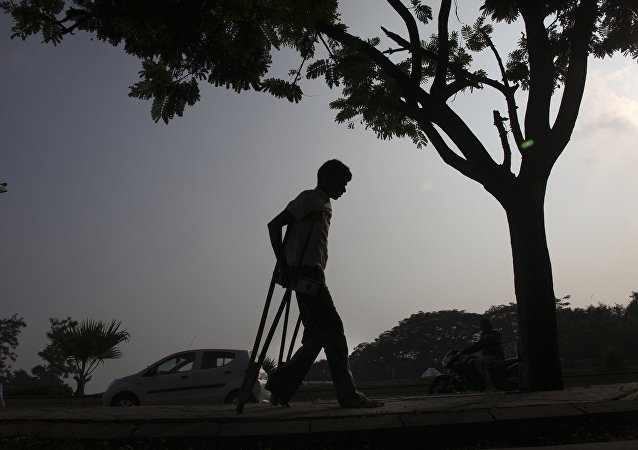 A physically disabled man returns after participating in a walk in Hyderabad, India. (File)